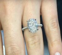4.ct Oval Cut Diamond Solitaire Pave Engagement Wedding Ring 14k White Gold Over