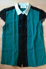 Chemisier vert 100% soie dentelle noir Lynn Adler taille S soit 36