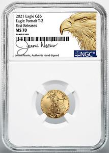 2021 $5 Gold Eagle 1/10 oz NGC MS70 FR Jennie Norris TYPE 2