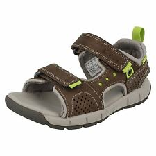 c4c4527e131 Boys Clarks Jolly Wild Inf   Jnr Grey Leather Riptape Strap Sandals