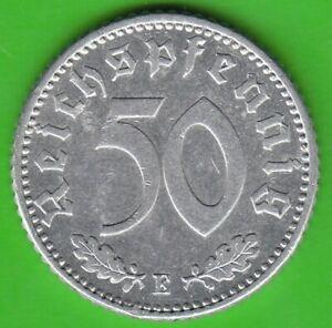 50 Reichspfennig 1935 E Aluminium Scarce XF Nice nswleipzig