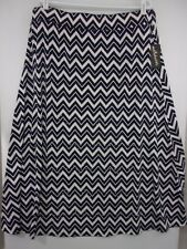 NWT Metro Wear Woman 3X Navy/White Chevron Stripe Silver Rhinestone Trim Skirt