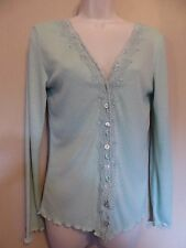 East Large UK16 EU44 US12 green long-sleeved lace trim pointelle cardigan