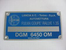 Targhetta dati Lancia Fulvia Coupè Rallye 1,3S