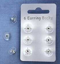 72 EARRING BACKS WITH PADS,£0.09 EACH, SILVER-COLOUR PLATED, 12 CARDS OF 6 BACKS