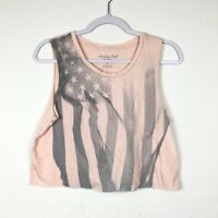 American Eagle Outfitters Women's Crop Top Size S Flag Cut Off (BO100)