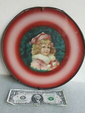 """vtg. Flue Cover Child In Santa Claus Christmas Suit antique wall hanging 9-1/2"""""""