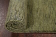 Solid Army Green Modern Runner 3'x10' Gabbeh Indian Oriental Rug Hand-Knotted