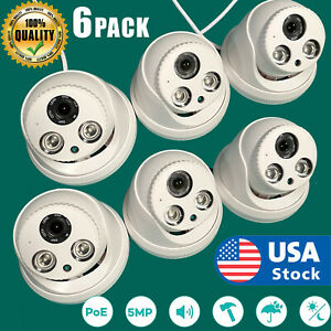6Pack 5MP IR outdoor POE Dome IP CCTV Security Camera 4mm H.265 NVR Night Vision