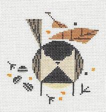 *New* Charlie Harper Chickadee Bird handpainted HP Needlepoint Canvas Ornament