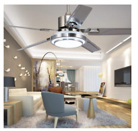 Remote Control Ceiling Fan Lamp Stainless Steel 5Blades 3Light Change 42/48/52""