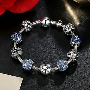 Fashion Jewelry 925 Silver Plated Charm Bracelet LOVE STORY Blue European Charm