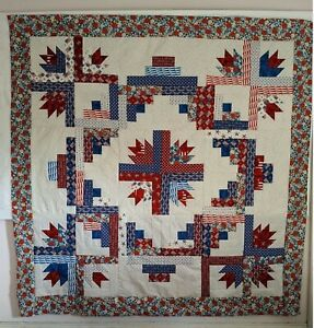 70x70 QUILT TOP RED WHITE BLUE PATRIOTIC UNFINISHED NEEDS QUILTING
