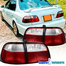 For 1999-2000 Honda Civic Sedan Red Clear Tail Lights Brake Lamps Replacement
