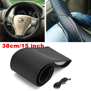 DIY PU Leather Soft Steering Wheel Cover With Needles & Thread Black Anti-slip
