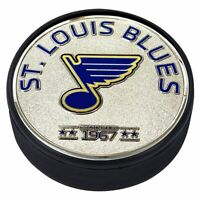 St. Louis Blues 3D Textured Silver Plated Medallion Hockey Puck
