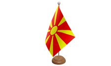 Macedonia New Small Table Flag with Wooden Stand