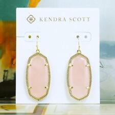 NWOT Kendra Scott Elle Rose Quartz Earrings Gold Tone