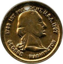 1789-1797  1st President U.S.A George Washington Holed Coin Medallion Token