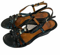 Sofft Womens Black Strappy Patent Leather Open Toe Wedge Heel Sandals Sz 8