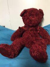 """Russ Berrie Sparkle Rosetta Plush Bear Burgundy 16"""" Long"""