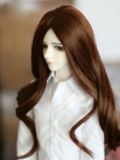 "8-9-10"" 1/3 BJD Brown Long Curly Wig LUTS Doll SD DZ DOD MSD Pullip Hair"