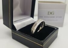White gold finish baguette full eternity created diamond ring size V free post
