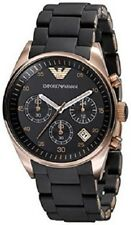 NEW EMPORIO ARMANI ROSE GOLD BLACK DIAL CHRONOGRAPH LADIES WATCH AR5906
