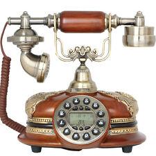 New Brown Antique Push Button Corded Home & Desk Phone Retro Vintage Telephones