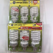 6 GE CFE Light Bulbs 100W 2 Packages 3 Each Energy 1 Smart & 1 Soft 00262 Spiral