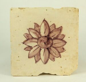 "! Antique 17th c. Dutch DELFT Hand Painted Mulberry Faience Tile w. Rosette 5.5"""