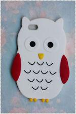 cover morbida Iphone 4/4s forma di gufo di colore bianco con ali rosse