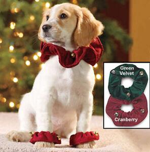 Dog Paws Ruffs, Medium Dog, Green Velvet, Christmas Paw Ruffles with bells, 2pk