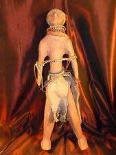 1800's CARVED AFRICAN WITCH DOCTOR GLASS BEADED WOOD TRIBAL SCULPTURE ANTIQUE