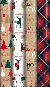 20m Wrapping Paper 4x5m Roll - traditional Reindeer, Tree , tartan