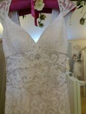 Long Boho Beach Gatsby 20s 30s Vintage Style Ivory Wedding dress Size  8-10