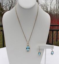 STERLING SILVER AQUAMARINE NECKLACE AND EARRINGS SET