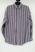 Vintage Eddie Bauer Bainbridge Flannel Striped Long Sleeve Shirt Men's Size L