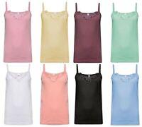 8 Womens Plain Stretch Cotton Vest Lace Trim Camisole Tank Top Pack of 8 Colours