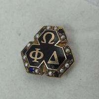10K Gold Omega Phi Delta Sapphire Fraternity Sorority Seed Pearl Enamel Pin