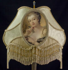 VICTORIAN LAMP SHADE CAMEO IVORY GOLD FABRIC LADY ROSE