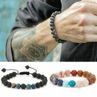 Women Men Fashion Lava Rock Natural Stone Beaded Charm Bangle Bracelet Jewelry