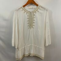 Chicos Womens White Boho Embroidered Trim Rayon Pullover Blouse Tunic Top Size 2