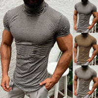 Mens Slim Fit Short Sleeve T Shirt Muscle Fitted Top Gym Tee Striped High Neck