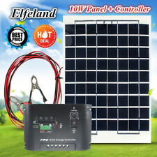 10W 12V Solar Panel Module Battery Charger + Controller + 4m Cable For RV Boat