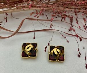 Original Vintage CHANEL square red pate de verre Earrings with large CC, 1995