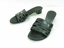 Cole Haan Resort Sandals Womens 7 Black Leather Mules Mid Heel Open Toe Slides