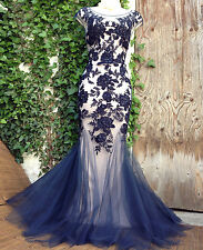 PHASE EIGHT Collection 8 nude/midnight embroidered/embellished fishtail gown 12