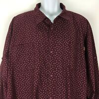 Jeans by Buffalo 3XL Red Shirt Mens 100% Cotton Button Up Long Sleeve