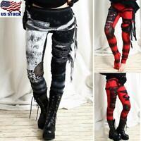 Womens Gothic Punk High Wasit Leggings Pants Skinny Steampunk Long Trousers USA